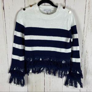 English Factory Blue White Striped Fringe Sweater